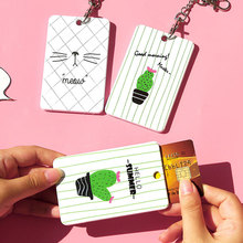 Cactus Badge Holder Bus Cards Holder High Quality Student Transport ID IC Card Sets Key Chain Ring for School Office Supplies