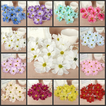 50pcs 7.5cm Artificial Silk  chrysanthemum Flower Heads Cosmos for Hair Clip Party Wedding party Home Decor 3 inch