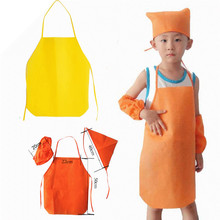 Non Woven Kitchen  Kids Oversleeves Hat Aprons Set Disposable Aprons Cartoon Printed Logo Cooking Apron, custom logo eco Aprons