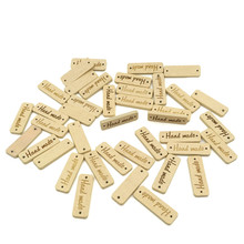 Lettering 2-hole sewing Scrapbooking 30mm Wooden Decorations Handcrafts craft Prefect 50pcs Wood color Wooden 'Hand made'(China)