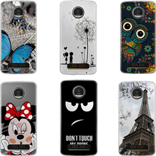 Soft Silicone phone Protective Case for lenovo Motorola Moto Z Force Droid Edition / Moto Z Play 5.5 TPU Back cover Butterfly(China)