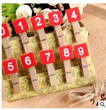 Kawaii Stationery 100 pcs/ 1 lot Mini Red numbers Painted Wood Clip Set / Cute Wooden Paper Clips / Small Craft Photo Pegs(China)