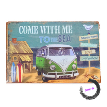 "Metal Tin Signs ""Come with me to the Sea""  VW Combi GAS Oil Man Cave/Garage Service Station Motel Wall Decor"
