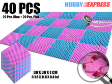 New 40 pcs Blue and Pink Plastic Flooring Mat Tiles Anti Slip Indoor/Outdoor Foot Prints Pattern 30 x 30 cm KK1128