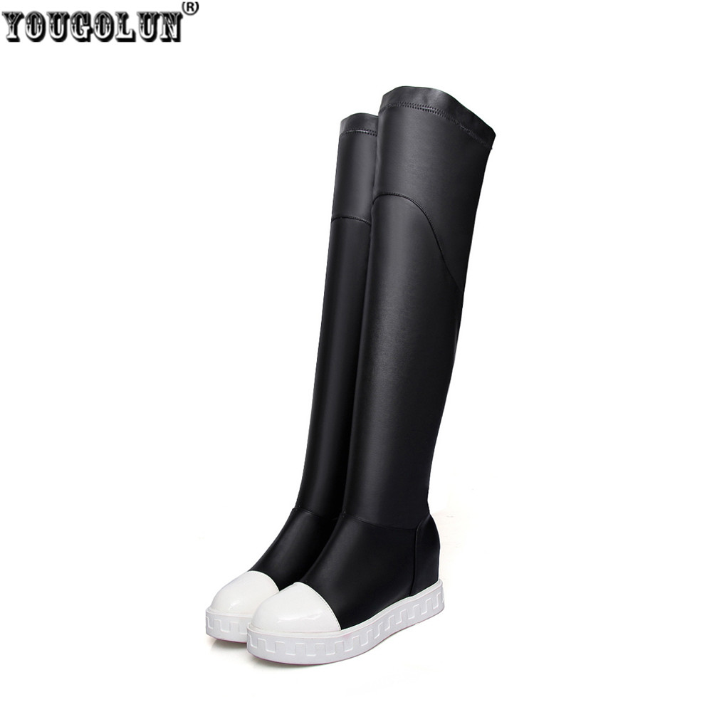 YOUGOLUN ladies sexy stretch PU autumn winter shoes woman over the knee boots women black platform shoes thigh high boots flats<br>