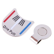 Golf Cap Clip Marker with Golf Cap Clip Golf Ball Aiming Marker Alloy Professional Golf Training Kits Magnet Clip chrome coating(China)
