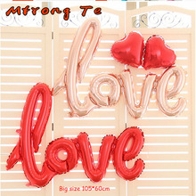 Mtrong Te LOVE Letter Foil Balloons Anniversary Wedding Valentines Party Decoration Balloon Red rose gold love balloons(China)