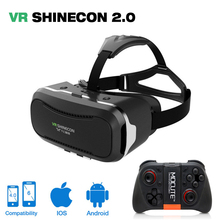 Virtual Reality goggles VR shinecone 2.0 II 3D Glasses google Cardboard VR BOX 2.0 With remote gampad For 4.0-6.0 inch cellphone