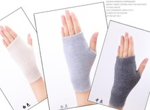 Sales Genuine Fine Sheep Wool Mitt Exposed Finger Women's Gloves Winter Autumn Knitted for Women Fingerless Gloves Wrist Mittens(China)