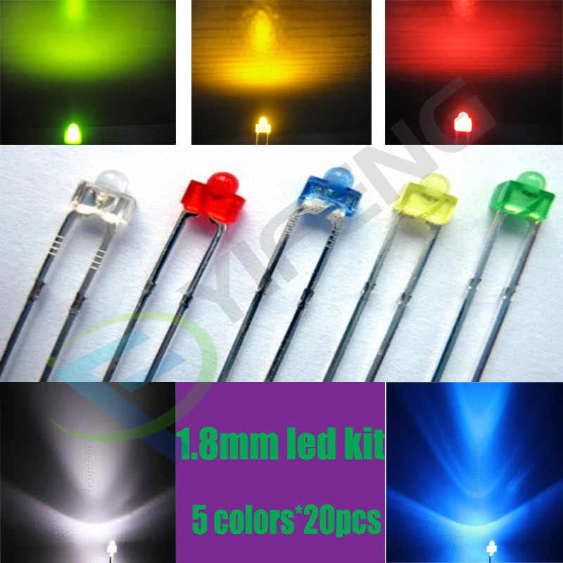 100pcs 1.8mm Red LED Light Emitting Diode Water Clear Round Ultra Bright Lights