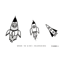 1PC Waterproof Rocket Tattoo Stickers Original Cosmic Ecology Black and White Simple Creative Fake Tattoo Stickers