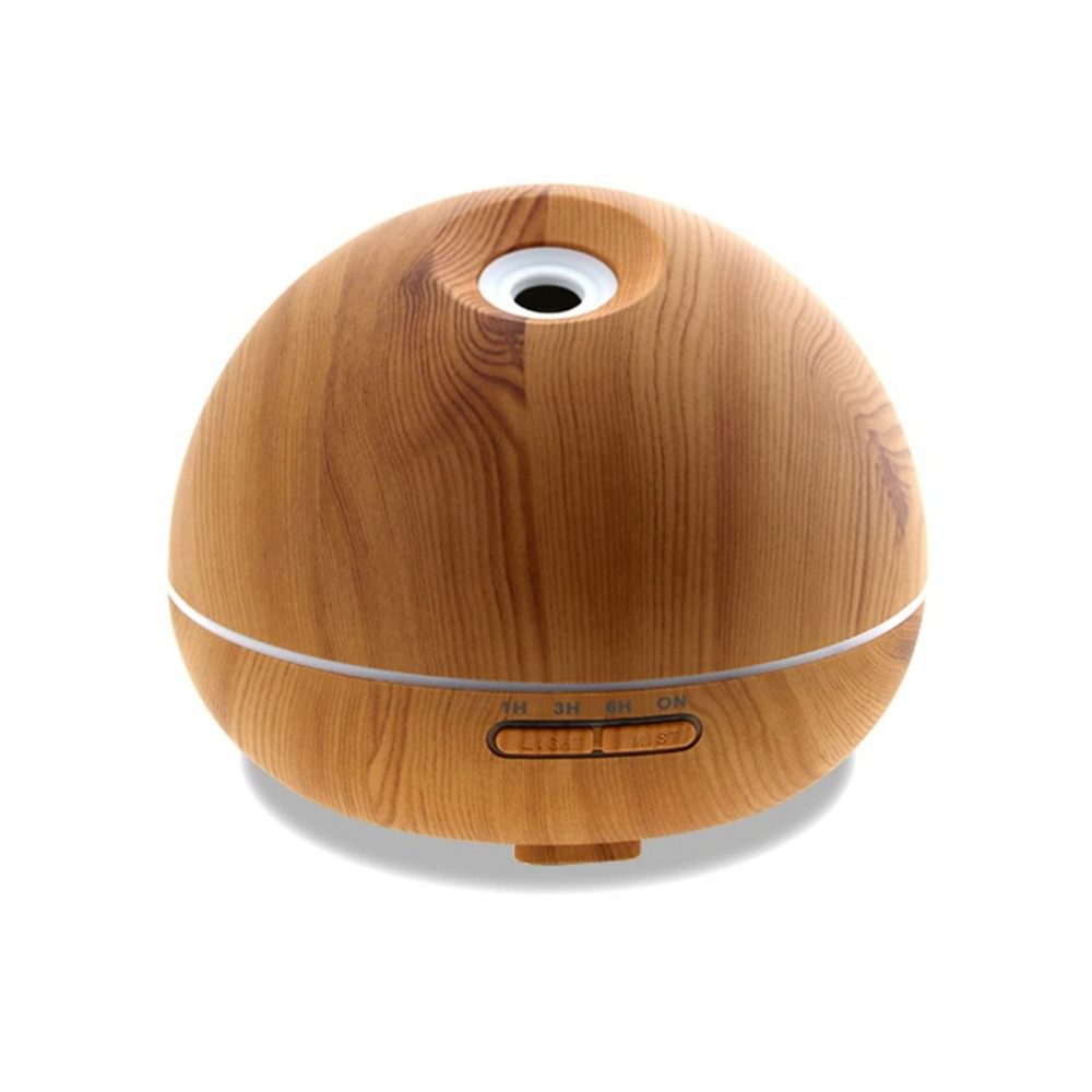 300ml Aroma Essential Oil Diffuser Ultrasonic Air Humidifier with Wood Grain Pattern &amp; Color Changing LED Light US Plug<br>