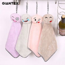 GIANTEX Lovely Cartoon Smile Face Super Soft Absorbent Microfiber Hand Towel Hanging Bathroom Kitchen Towel Cleaning Cloth U1127