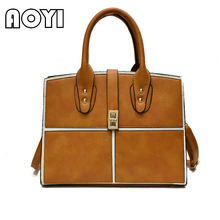 AOYI Women Bag Pu Leather Tote Brand Name Bag Ladies Office Handbag Evening Bags Solid Female Messenger Bags Travel Fashion Sac