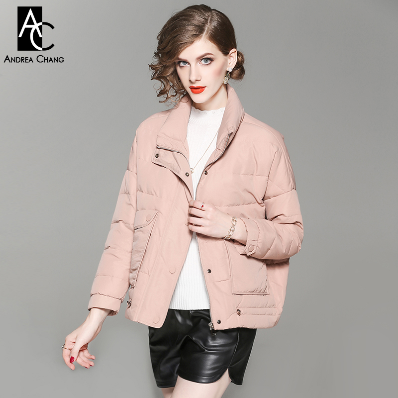 autumn winter woman outwear white duck down fill coat with pockets black pink beige coat stand collar fashion cute casual coat