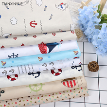 Twill 8 pcs Ocean anchor series Cotton Fabric DIY Patchwork Sewing Kids Bedding Bags Cloth Textiles Sailing Fabric 40*50cm