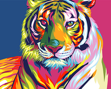 Digital Diy oil painting by numbers snow tiger wall decor picture on canvas oil paint coloring by number drawing animals(China)