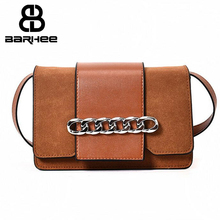 Nubuck Small Flap Bag Women Crossbody Bag Faux Suede Leather Messenger Bag Chains Luxury Design Patchwork Handbag High Quality(China)