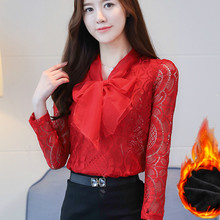 2017 Autumn Winter Long Sleeve Plus Fleece Red Lace Blouses Women Bow Tie Lace Shirts Women Warm Fleece Lace Tops Bow Tops(China)