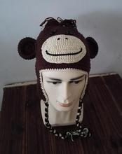 Handmade Knitted Crochet MONKEY Hat With Ear Flap Animal Cap Beanie Skullies Warm For Adult Men Women Girls Boys Christmas Gift