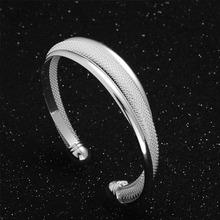 H:HYDE Modern design Fashion Women Female Jewelry shiny noble silver color Bangles Cuff Bracelets for gifts pulseiras(China)