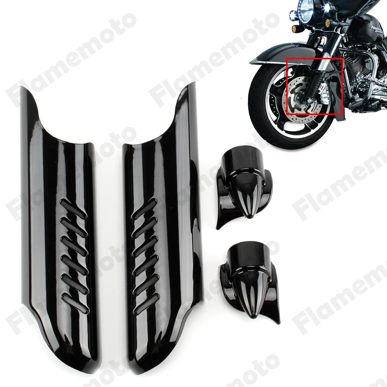Motorbike Parts Black Fork Lower Leg Deflectors Shields For 2000-2013 Harley Electra Glide Touring Street Road Glides Trike<br>