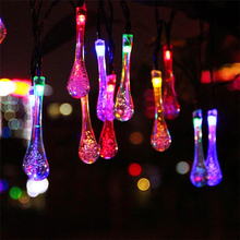 Waterproof Icicle Style 20-LED Solar Powered Water Drop String Lights LED Fairy Light for Wedding Christmas Party Festival