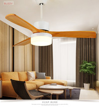 High Quality Ceiling Fan With Lights For Living Room 52 Inch 3 Blade LED Fans With Remote 110v 220V Ventilador De Teto Wood Ligh(China)