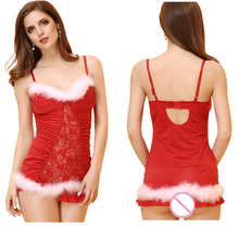 Good Quality Plus Size XXL Lady Christmas Lingerie sexy baby doll costumes role play party performance for girls One suit