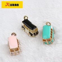20PCS / lot gold color alloy, inlaid rhinestone 3D buses pendant necklace handmade DIY accessories bracelets earrings