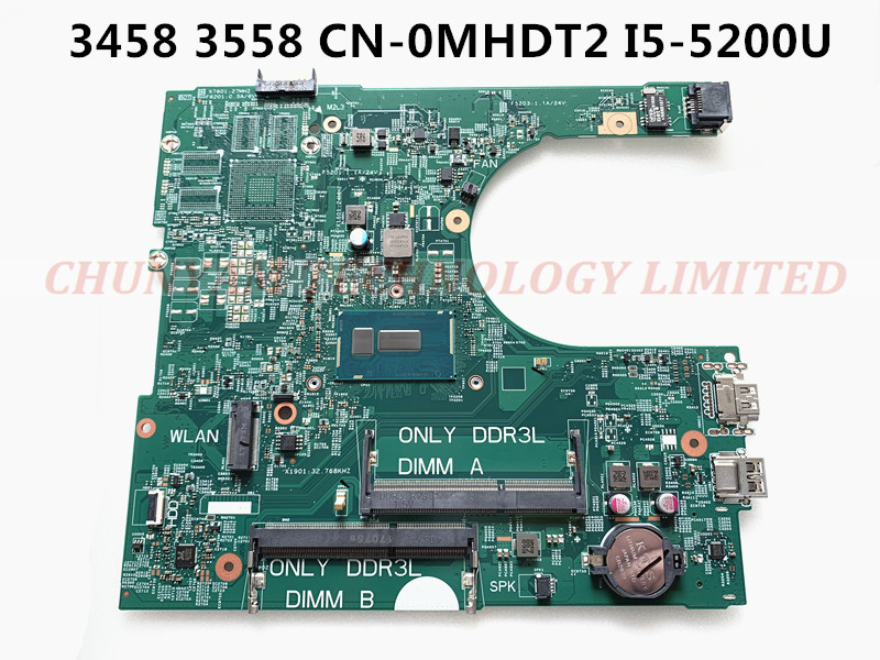 KEFU CN-0MHDT2 MHDT2 FOR Dell Inspiron 3458 3558 Laptop Motherboard 14216-1 PWB:1XVKN REV:A00 I5-5200U mainboard NOTEBOOK PC