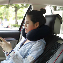 2017 U Shape Soft Travel Pillow Inflatable Neck Pillow Head Back Shoulder Pain Relief Massager Cervical Traction Relax Pillow(China)