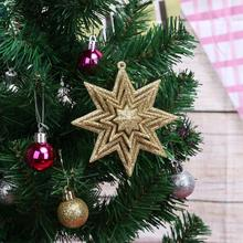 New Year Gifts Hollow Octagonal Star Elk Angel Hanging Ornaments DIY Christmas Tree Top Decoration for Home Christmas Decor(China)
