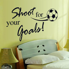 shoot for your goals football wall stickers kids room decoration diy soccer mural art quotes decals home decor children gift