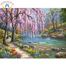 HOME BEAUTY oil paint painting by numbers diy picture drawing coloring on canvas painting by hand wall paint landscape J037