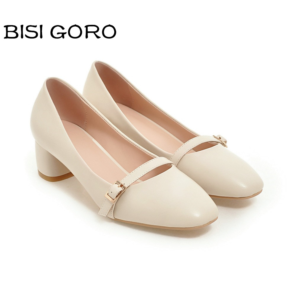 BISI GORO new 2017 block heel women shoes medium heel square toe ladies shoes women heels pink pumps elegant women office shoes<br>