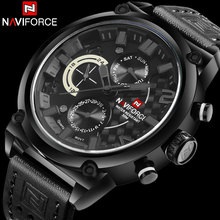 Men Sport Watches NAVIFORCE Luxury Brand Men Quartz Watch Genuine Leather Strap Hot Male Calender 30M Waterproof Wristwatches(China)