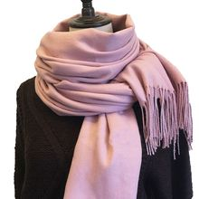 1 pcs Fashion Style Women Winter Imitation Cashmere Blend Solid Color Tassel Shawl Wrap Scarves Popular Sale(China)
