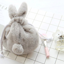 HIPSTEEN Cute Women Make Up Cosmetic Organizer Bag Fashion Travel Professional Makeup Case Plush Rabbit Drawstring Toiletry Bag(China)