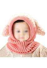KSFS Lovely Baby Girl Boy Knitted Crochet Winter Hats Puppy Dog Beanie Caps Pink(China)
