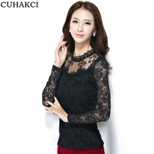 Plus size Floral T-shirt New fashion Women's Stand Pearl Collar Lace Crochet T Shirts Long Sleeve Sexy Tops For Women Shirt S078