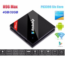 H96 MAX Android 6.0 TV Box RK3399 Six Core Cortex-A53 4G/32G H.265 4K*2H 2.4G/5.8GHz Dual WiFi 1000M LAN USB3.0 Type-C(China)
