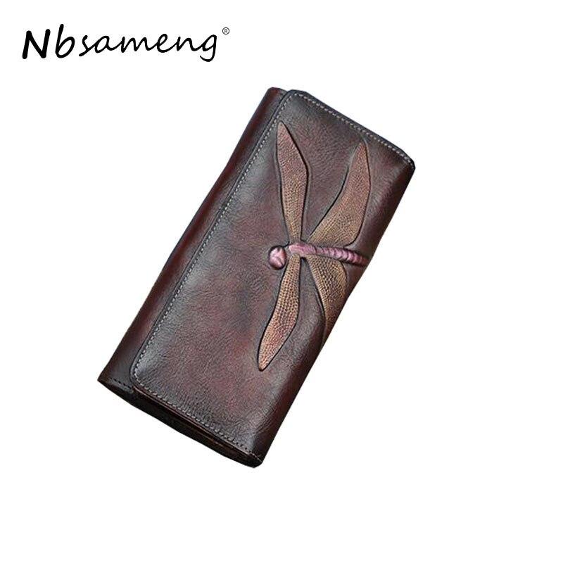 NBSAMENG Genuine Leather Vintage Women Long Wallet Female Butterfly Pattern Carved Wallet Retro Pocket Purse Long Clutch Purse<br>