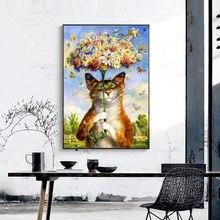 Meian вышивки крестом Вышивка Наборы 14ct Cat животных хлопок Нитки живопись DIY рукоделие DMC Новый год Домашний Декор vs-0014(China)