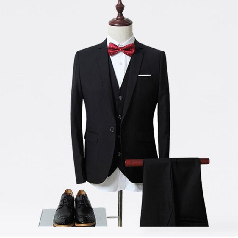29-3 Fashion classic black lapel single-breasted men\'s tuxedo and men\'s wedding dress 3 pieces (jacket + vest + pants) custom made