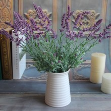 Artificial Flowers Fake Plants Lavender Leaves Grass Wedding Floral Mini Fresh Home Decor Flowers Arrangement Health Materail(China)