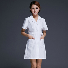 Nurse Uniforms Health Care Workers Stand Collar White  Beauty Services Short-sleeve Work Wear  White Coat