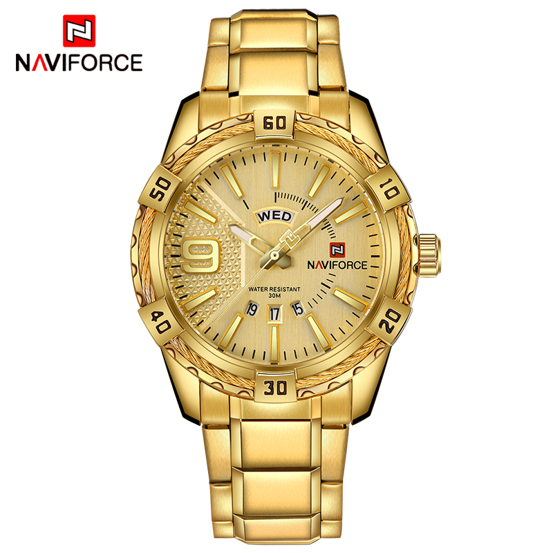 NAVIFORCE Luxury Brand Mens Sport Watch Gold Full Steel Quartz Watch Men Date Waterproof Military Clock relogio masculino+gift<br>