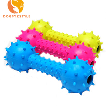 Rubber Dog Toy squeakers Barbell Pet Dog Squeak Chew TPR Double Bells Non-toxic Pet Toys Dogs Accessories DOGGYZSTYLE 2