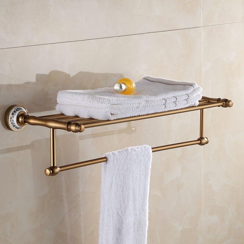 Antique Brushed Space Aluminum Towel Shelves Blue&amp;white porcelain Towel Holder Rack Bathroom Shelves Bath Hardware Sets<br><br>Aliexpress